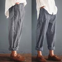 Mode Femme Taille elastique Bande Loisir Loose Casual Pantalons Sarouel Plus