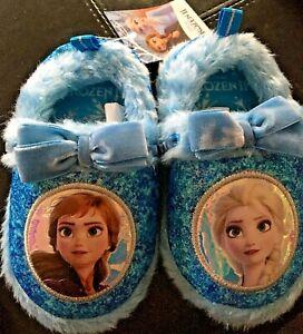 Girls Kids Frozen 2 Slippers Soft Slip On Size 6 7 8 9 10 11 12 Warm Soft Blue