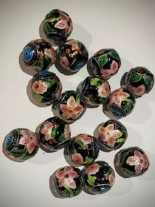 Old Stock Cloisonne Beads, 16) 15mm Round Florals, Black Background