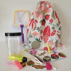 GIRLS Bug Catcher KIT + Flower Bag PARTY kid craft growing insect torch stickers