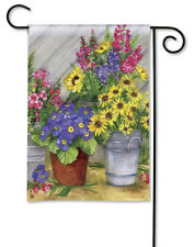"BLOSSOM BUCKETS Spring Flowers in Bucket & Pot 12.5"" x 18"" Small Banner Flag"