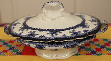 John Maddock Hamilton Oval Coverered Vegetable Bowl Flow Blue c1880-1896 England