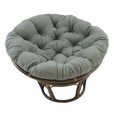 Rattan Papasan Chair with Grey Cushion