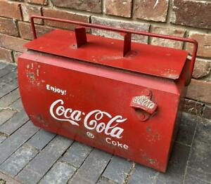 Coca Cola Drinks Cooler Box - Vintage Retro Style Metal Red Advertising Coke