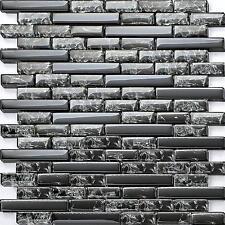 Black Crackle and Plain Glass Mosaic Wall Tiles Brick Bathroom Shower (MT0074)