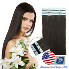Tape In Skin Weft 16''Natural Black Brazilian Remy Human Hair Extensions US Ship