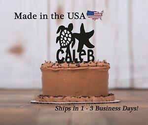 Sea Turtle Starfish Cake Topper, Wedding, Birthday, Sea Animal, Keepsake, LT1404