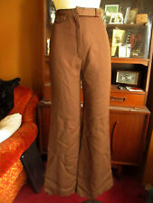 24x31 sz 7 True Vtg 80s Chocolate Brown Polyester Pocketless Bellbottom Jeans