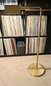 Mid Century Koch Lowy/Von Nessen Style Polished Brass Adj. Pharmacy Floor Lamp!