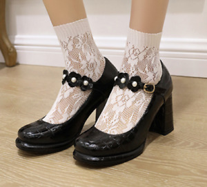 Womens Block Heels Mary Jane Round Toe Patent Leather Ankle Strappy Lolita Shoes