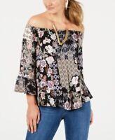 Style & Co Petite Floral-Print Off-the-Shoulder Top Size P/L - J5