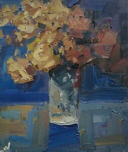 YELLOW ROSES BOUQUET OIL PAINTING BY ARTIST VIVEK MANDALIA 12 X 10 IMPRESSIONISM