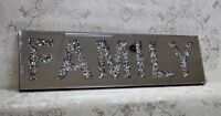 Diamond Crushed Crystal Contemporary Family Wall Hanging Mirror Plaque70 x 20cm