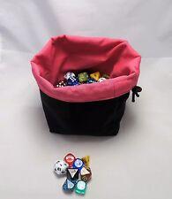 New Pink Square Base Dice Bag - Reversible Drawstring Tile Pouch RPG Meeple D&D