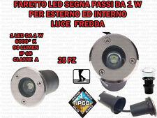 25 FARETTI INCASSO LED 1W ESTERNO/INTERNO SEGNA PASSO CALPESTABILE IP68 GIARDINO