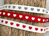 Wedding Ribbon - Anniversary Red Love Heart Gift Wrap - Valentine Embellishment