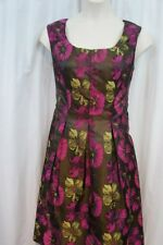 Nine West Dress Sz 12 Green Pink Tiger Eye Combo Pleated Career Cocktail Dress