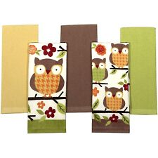 Owl Kitchen Towels Set of 5 Bird Home Decor 100% Cotton 2 Print 3 Solid NEW