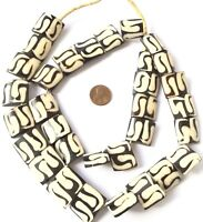 Kenya black and white African batik Bone Pendants Shape African Trade Beads