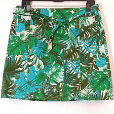 Ann Taylor Skirt Sz 8 Tropical Leaf Palm Print Blue Green Side Zip & Belt