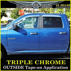 For 2009-2018 Dodge Ram 1500 10-21 2500 CREW Cab Chrome Door Vent Visors Guards