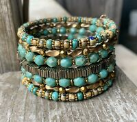 Golden Goodness Multi Strand Memory Wire Bracelet With Turquoise And Gold Tones