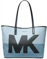 Michael Kors Carter Denim MK Open Tote DESIGNER Logo Print XLarge Blue Bag