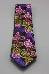 ROBERT TALBOTT Silk Tie. Colorful Vibrant Black w Pink Purple Orange Geometric.