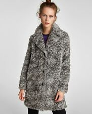 ZARA GREY MARL TEXTURED FAUX FUR COAT WITH LAPEL COLLAR SIZE L