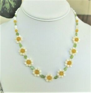 Mother of Pearl, Yellow Jade & Peridot Daisy Chain Necklace, 14 Kt Gold Fill