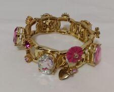 Betsey Johnson Gold-Tone Rhinestone Flower Stretch Bangle Bracelet NEW