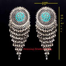 Teal Color Glass Stone Oxidised Dangle Bollywood Long Earrings