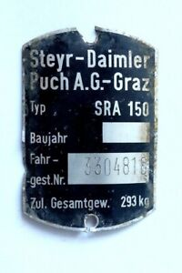 STEYR-DAIMLER-PUCH CHASSIS PLATE / FRAME / VIN TAG from PUCH SRA 150 SCOOTER