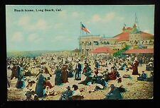 1900s Beach Scene Everyone's Dressed Long Beach CA Los Angeles Co Postcard