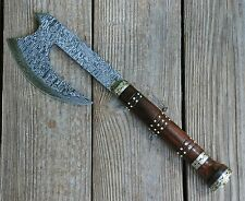 Handmade Damascus Axe Hatchet with Rosewood Handle and Sheath with Belt Loop