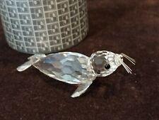 Swarovski Crystal Figurine, Large Seal with Black Eyes Orig. Box 7646 Nr 85