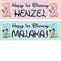 2x 1st personalized birthday banner party minnie mickey boys girls any name ages
