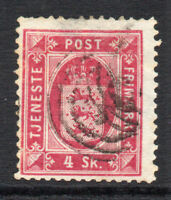 Denmark 4 Skilling Official Stamp c1871 Used (small thin little tone) (2309)
