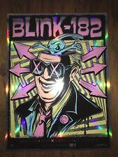 2017 Blink 182 Art Print Poster Brandon Heart Signed 19/50 Rainbow Foil Variant