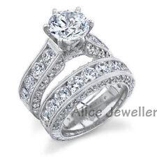2.50 Ct 10K White Gold Plated White CZ Wedding Band Engagement Ring Set Size 8