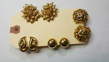 Vintage Lot of 4 Monet Goldtone Clip-On Earrings Work Pary Cafe 80s 90s Retro