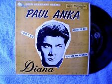 "PAUL ANKA-DIANA; LONELY BOY; YOU ARE MY DESTINY; LONGEST DAY ""RARE OZ EP"" 45 RPM"