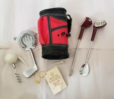 New listing Red & Black Faux Leather Mini Golf Bag - 9 Piece Bar Cocktail Drink Mixing Set