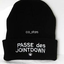 UNISEX MENS WOMANS KNIT KNITTED BEANIE RETRO COOL PASSE DES JOINT DOWN BLACK