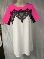 LESHOP Dress, Size S Lace Hot Pink Black White Baby Doll Barbie Style