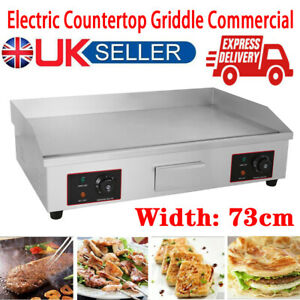 73cm Large Electric Countertop Griddle Commercial Kitchen Hotplate Grill UK Plug
