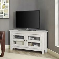 "Walker Edison 44"" Wood Corner TV Stand Media Storage Console in White, WQ44CCRWW"