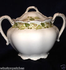 """JOHNSON BROTHERS THE TUSCANY SUGAR BOWL & LID 3 5/8"""" GREEN & PINK LEAVES SCALLOP"""