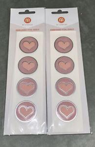 M By Staples Embossed Pink Heart.  Foil Envelope Seals, 2 Packs, 40 Count. NIP
