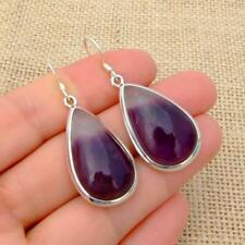 Bio Amethyst 925 Sterling Silver Teardrop Drop Earrings Indian Jewellery